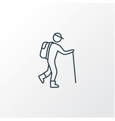 hiking icon line symbol premium quality isolated vector image