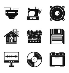 home wifi icons set simple style vector image
