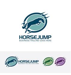 Horse jump logo design vector