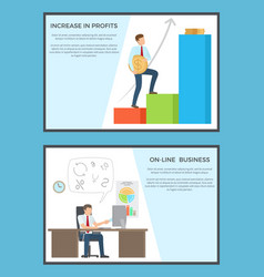 Increase in profits and online business posters vector