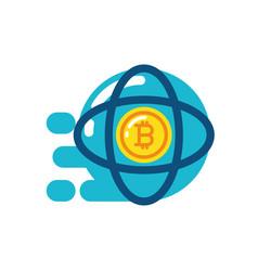 isolated bitcoin inside atom design vector image