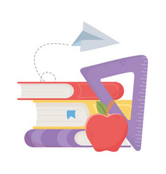 Isolated school books ruler and apple vector