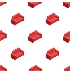 Isometric red sofa seamless pattern vector