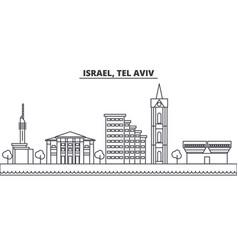 Istael tel aviv architecture line skyline vector