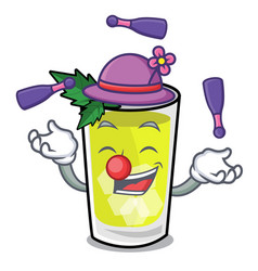 Juggling mint julep mascot cartoon vector