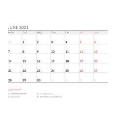 June 2021 monthly calendar planner printable vector