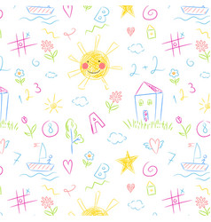 kids drawing seamless pattern colorful childish vector image