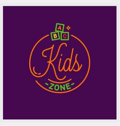 Kids zone logo round linear kids toys vector