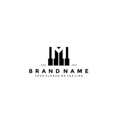 Letter m piano logo design vector