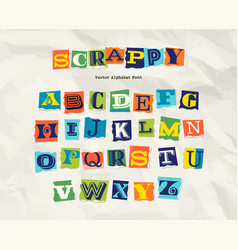 Letters cut torn from magazine on wrinkled paper vector