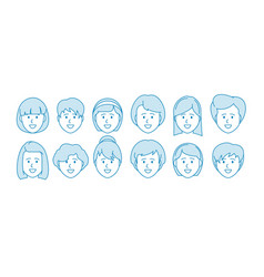 Line icon set people female characters vector
