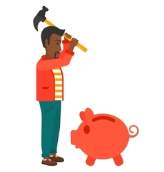Man breaking piggy bank vector image