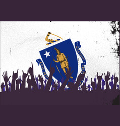 massachusetts state flag with audience vector image