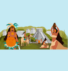 Maya civilization flat vector