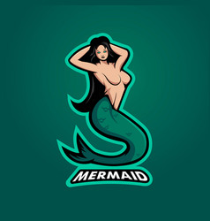 mermaid mascot logo design with modern vector image