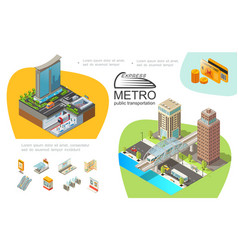 Metro public transport infographic template vector