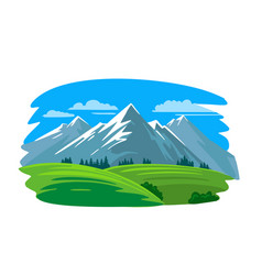 mountains with green field and fir trees vector image