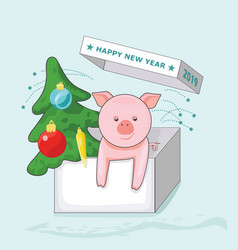 new year greeting card with pig and christmas vector image