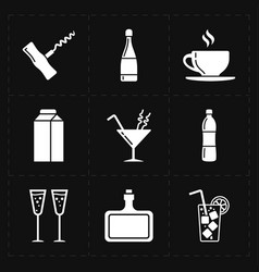 Nine modern flat bar icons vector