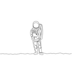 One single line drawing astronaut bring paper vector