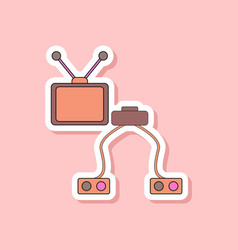 paper sticker on stylish background kids toy tv vector image