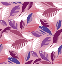 pink geometric colorful fall leaves pattern vector image