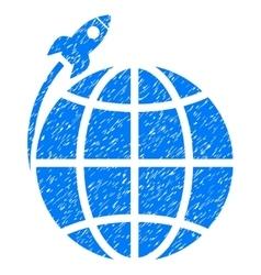 Planet Satellite Launch Grainy Texture Icon vector