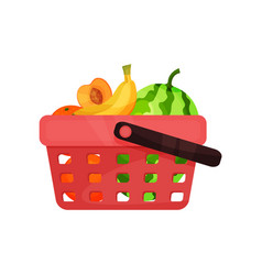 plastic shopping basket with sweet fruits fresh vector image