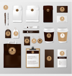 realistic set mock up template for coffee shop or vector image