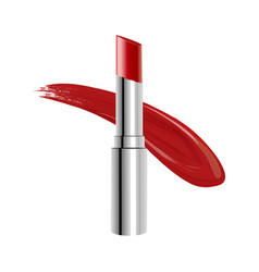 red lipstick with a trace on a white background vector image