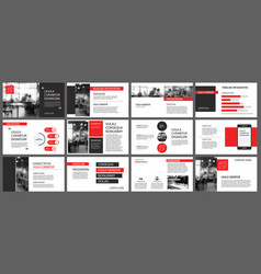 red presentation templates for slide show vector image