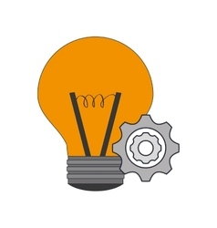 Regular lightbulb and gears icon vector