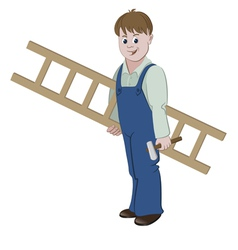 Repairman or worker standing with a ladder vector image