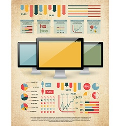 Retro set of infographic elements vector