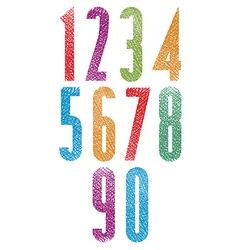 Retro style geometric tall condensed numbers set vector