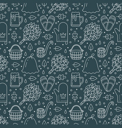 Sauna steam bath room dark seamless pattern with vector