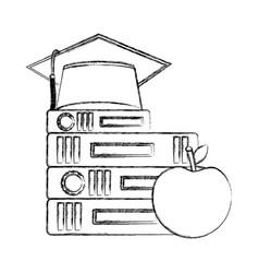 school books graduation hat and apple vector image
