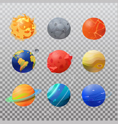set isolated solar system planets and sun vector image