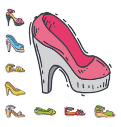set of womens shoes flat design hand drawn vector image