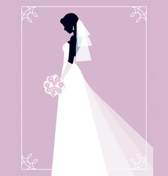 silhouette of a bride on a pink background vector image
