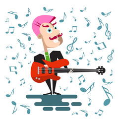 singer in suit with bass guitar flat design pink vector image