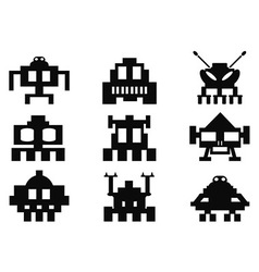 Space invaders icons set - pixel monsters vector
