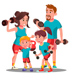 sports family parents and children doing sports vector image