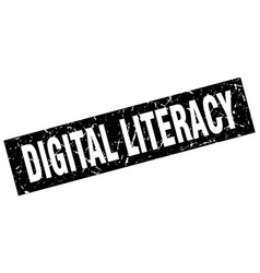 Square grunge black digital literacy stamp vector