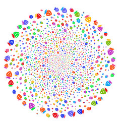 Strawberry centrifugal exploding globula vector