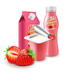 Strawberry yogurt packagings 3d photo realistic vector