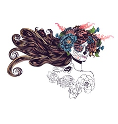 Sugar Skull Girl in Flower Crown10 vector image