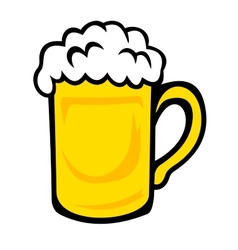 Tankard of frothy golden beer vector image