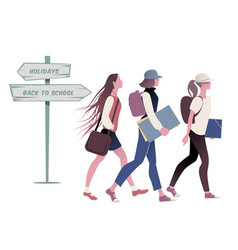 three teenage girls going back to school vector image