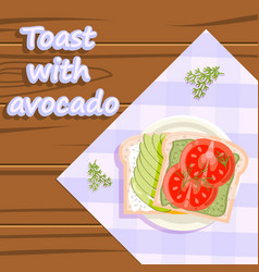 toast with avocado healthy food flatlay fruits vector image